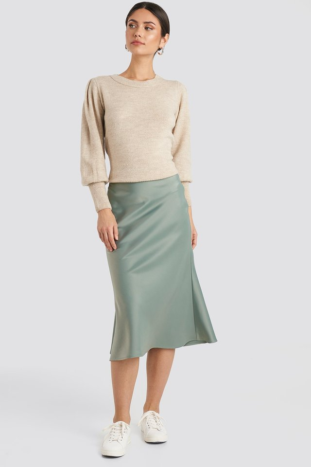 Satin Skirt Dusty Green