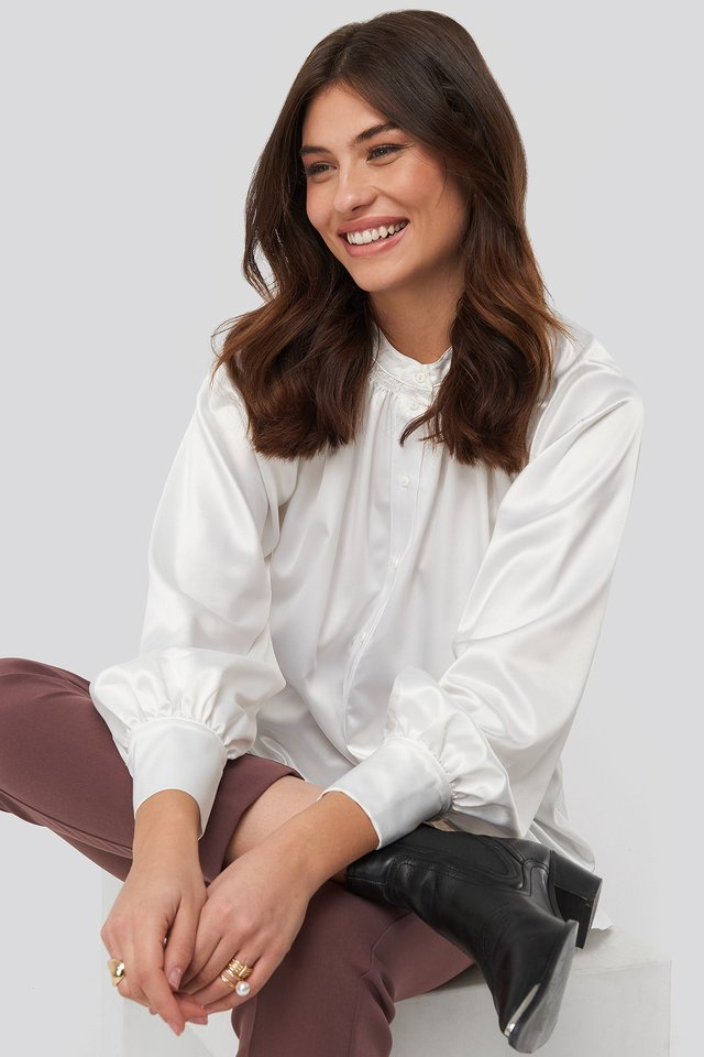 White Satin Smock Blouse