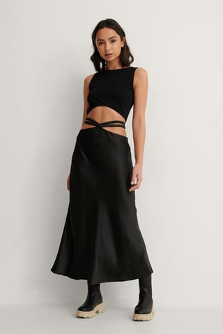 Black Satin Strap Midi Skirt