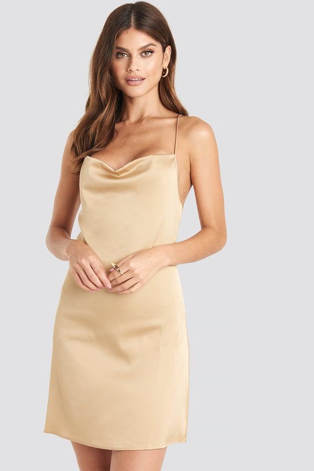 Satin Waterfall Mini Dress Beige