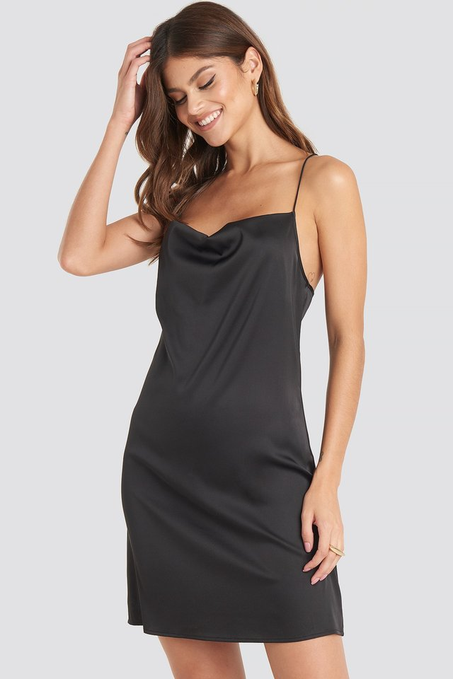 Satin Waterfall Mini Dress Black