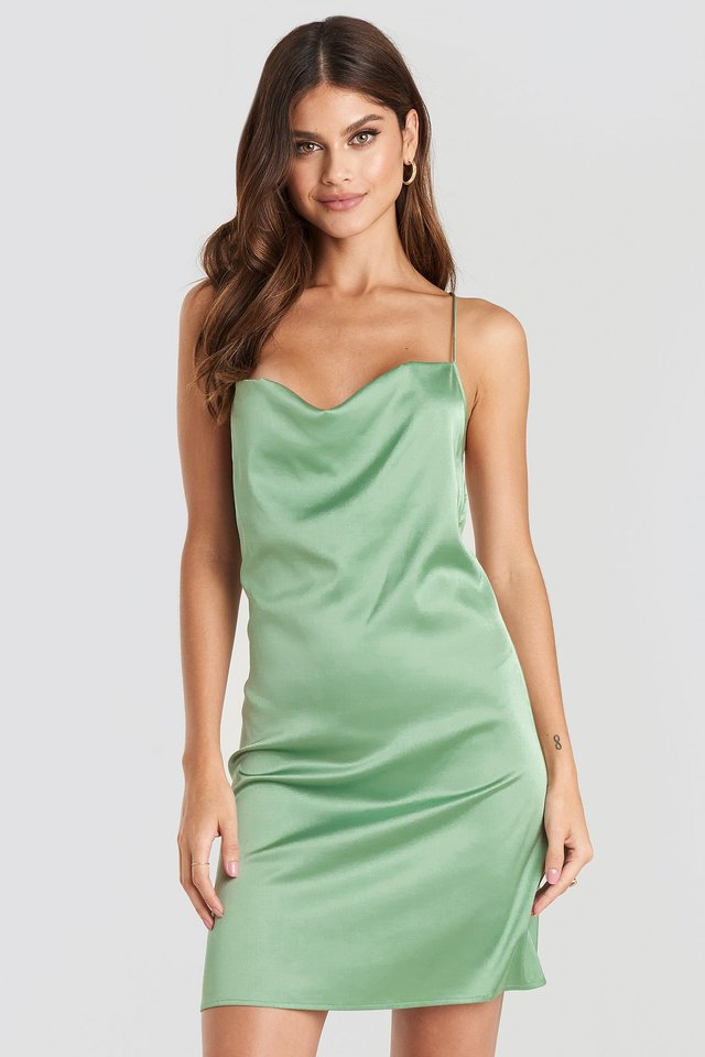 Satin Waterfall Mini Dress Dusty Green