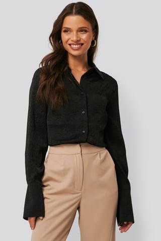 Black Satin Wrinkle Shirt