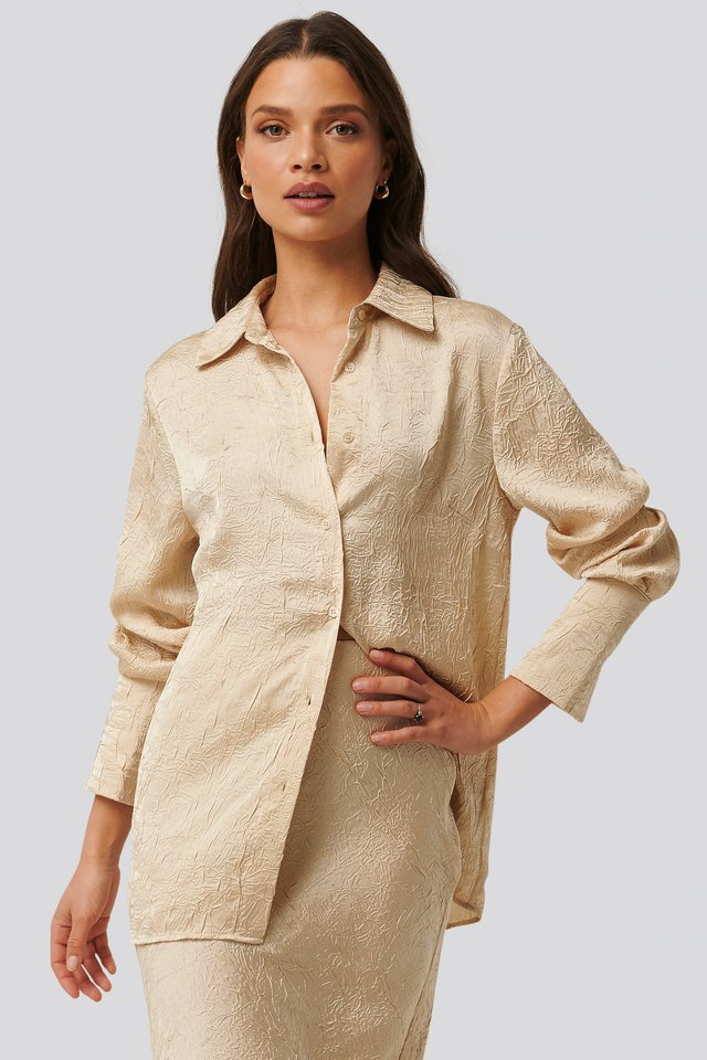 Satin Wrinkle Shirt Beige