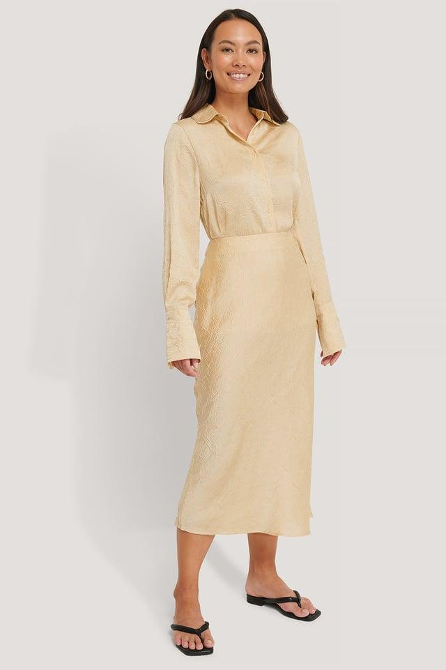 Beige Satin Wrinkle Skirt