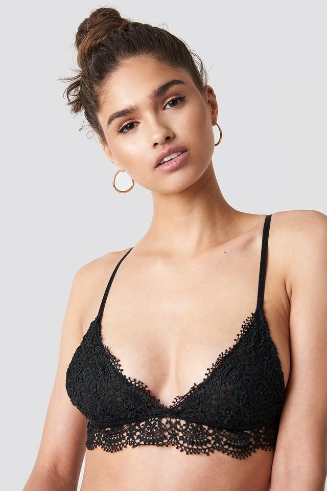 Scalloped Crochet Bra Black