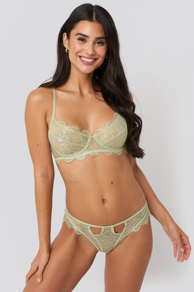 Scalloped Lace Cut Out Panty Olive
