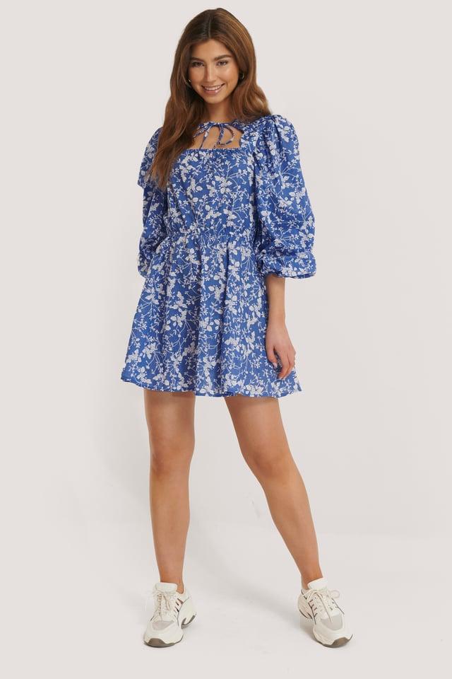 Scalloped Neckline Mini Dress Blue Flower