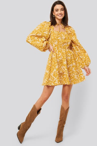 Yellow Flower Scalloped Neckline Mini Dress