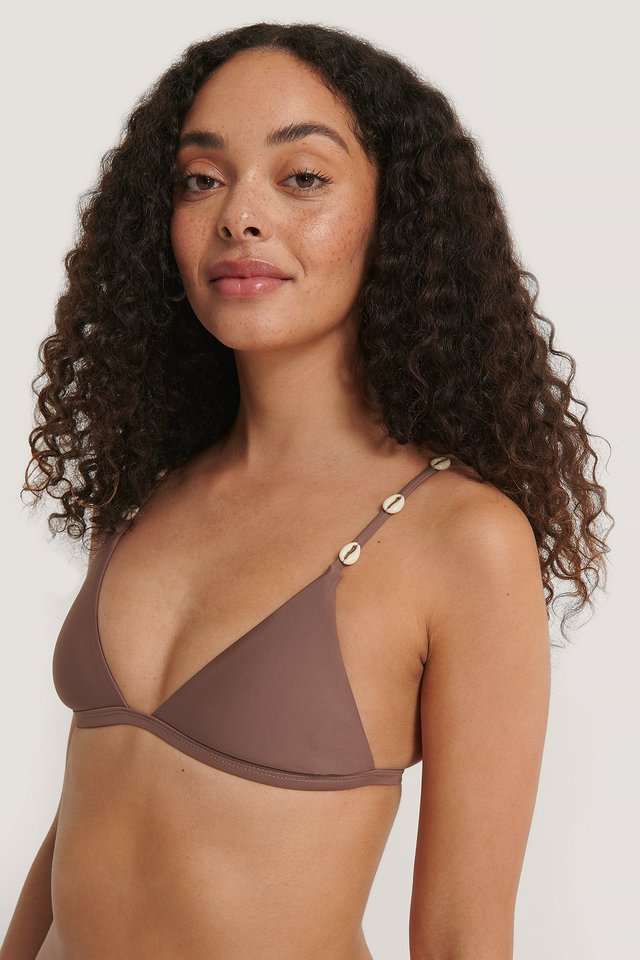 Rose Taupe Sea Shell Triangle Bikini Top