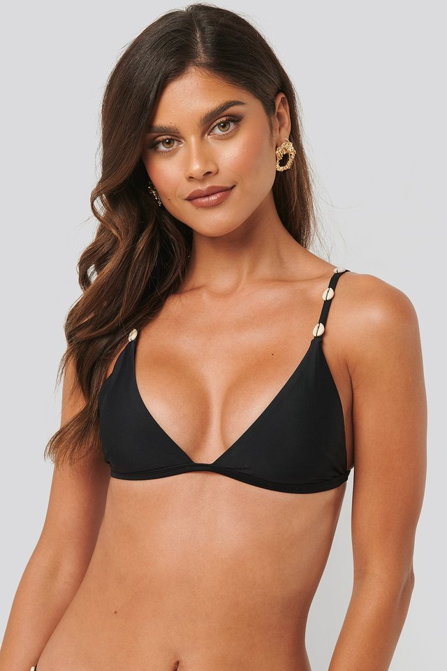 Sea Shell Triangle Bikini Top Black