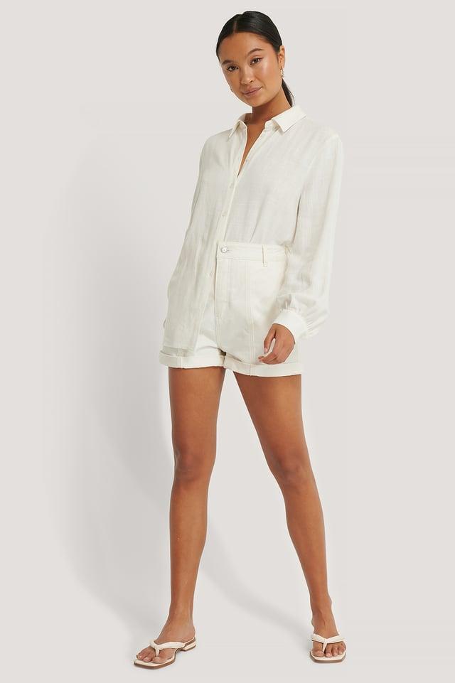 Offwhite Organic Seam Detail Denim Shorts