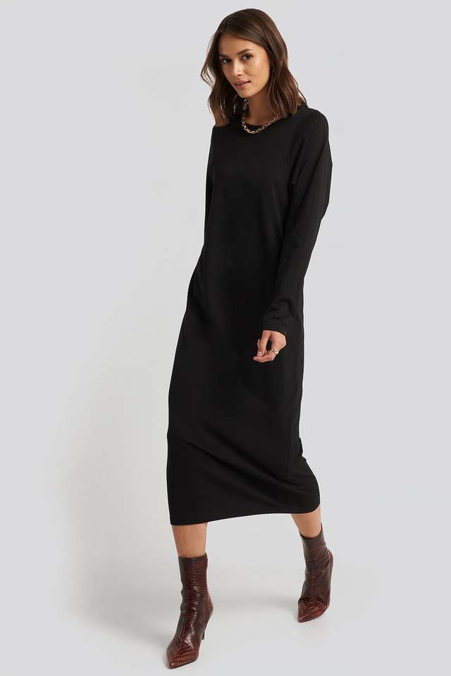 Black Seam Detail Long Sleeve T-shirt Dress