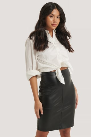 Black Seam Detail PU Skirt