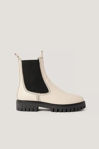 White Læderstøvler