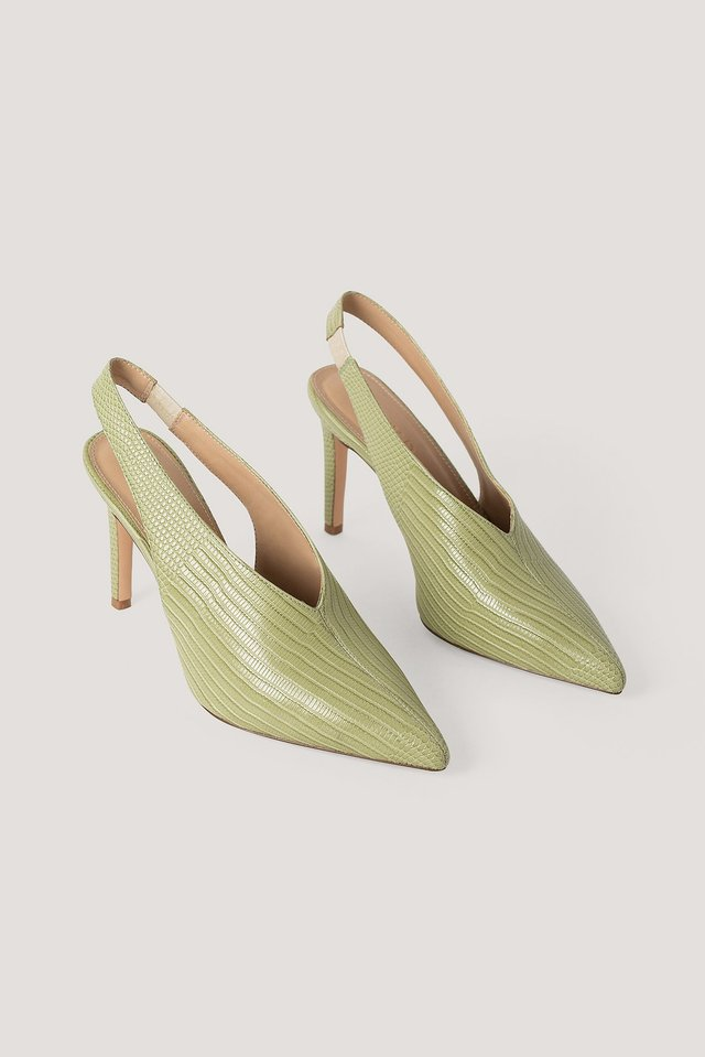 Lime Seam Detailed Slingback Pumps