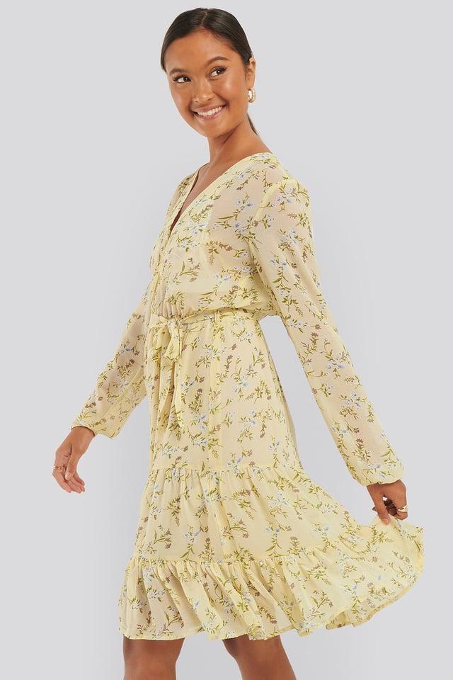 Self-Tie Printed Midi Dress Yellow Flower