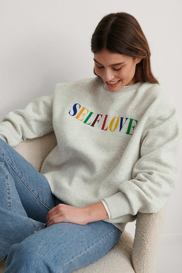 Grey Melange Self Love Embroidery Print Sweatshirt