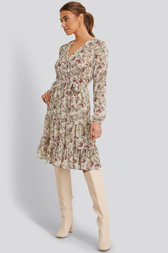 Self-Tie Printed Midi Dress Cream Floral
