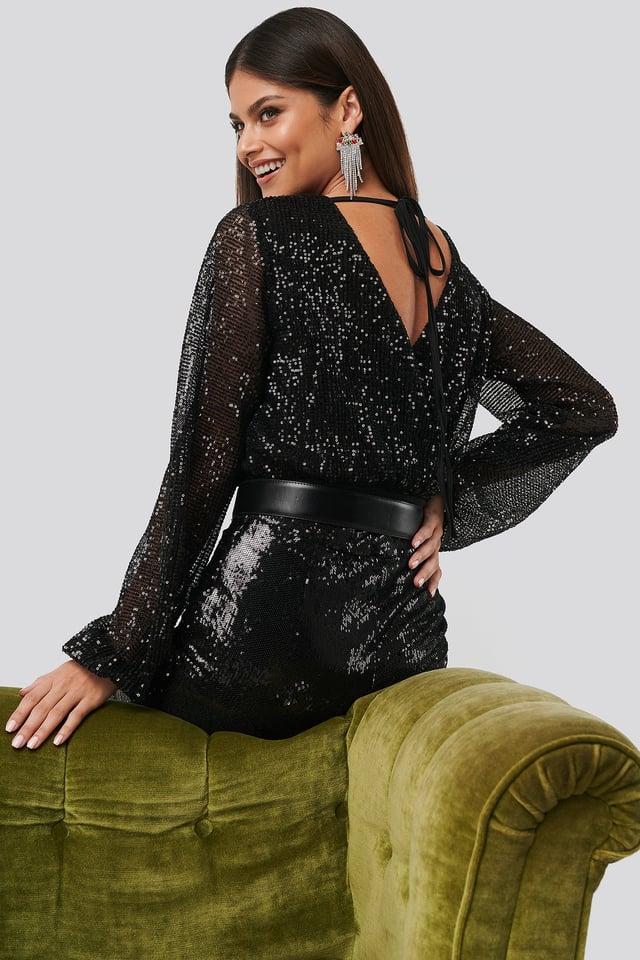 Sequin Balloon Sleeve Body Black