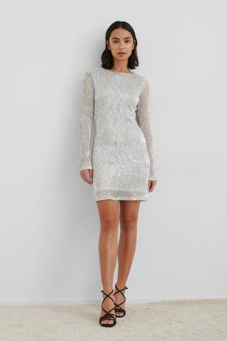 Silver Sequin Round Neck Mini Dress