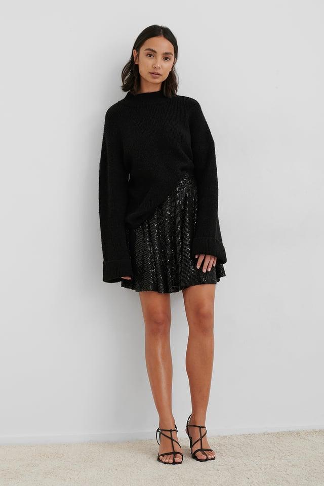 Sequin Skater Skirt Black