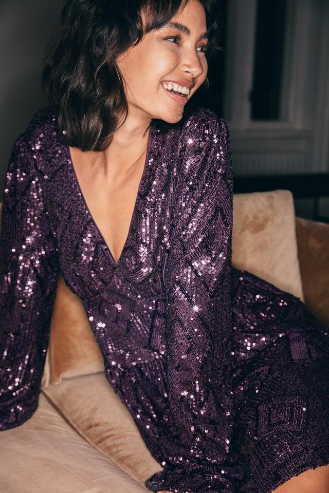 Purple Sequin V-Neck LS Mini Dress