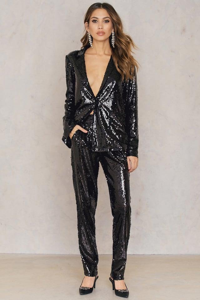 Sequins Straight Pants Black
