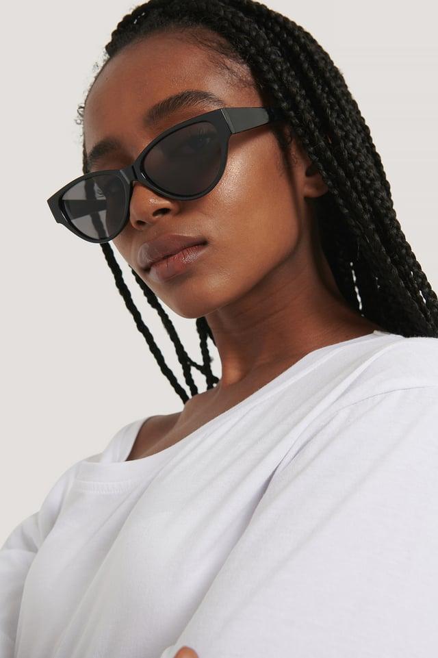 Drop Shaped Cateye Sunglasses Black