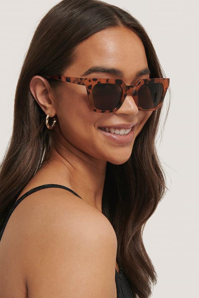 Nude Tortoise Sharp Edge Square Sunglasses