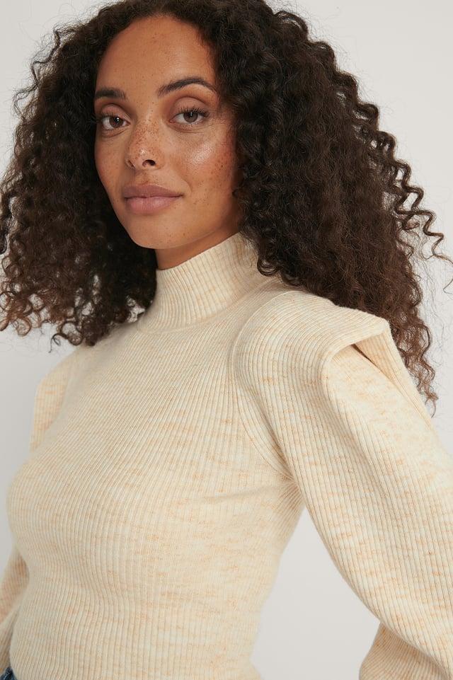 Sharp Shoulder Melange Knitted Sweater Beige