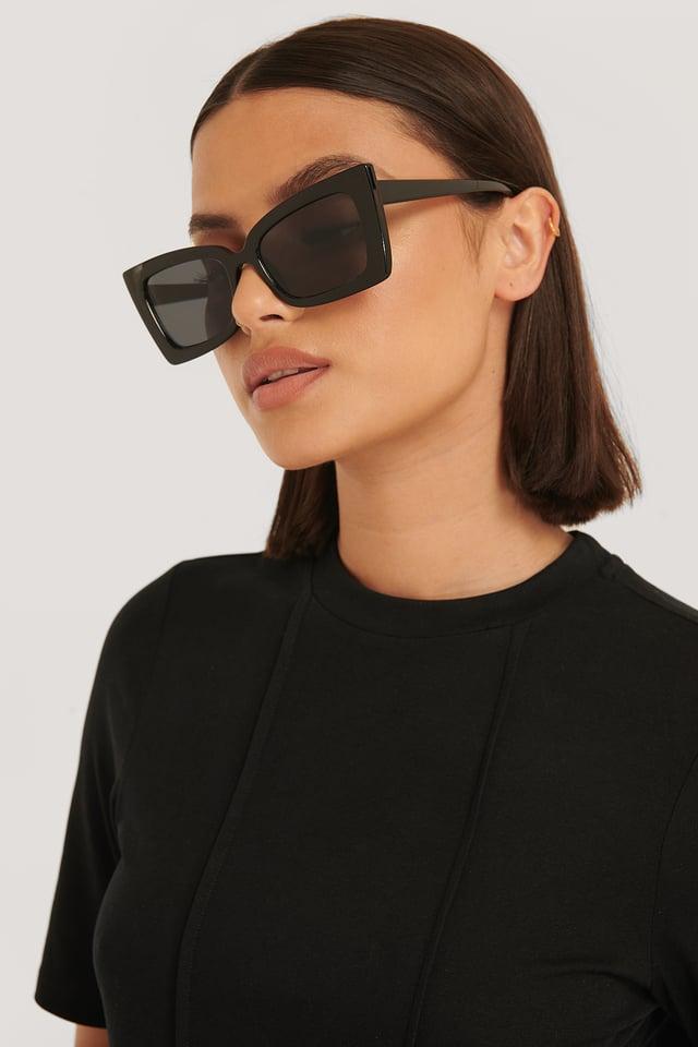 Black Sharp Trapeze Frame Sunglasses