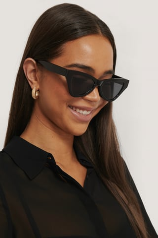 Black Sharp Triangular Cateye Sunglasses