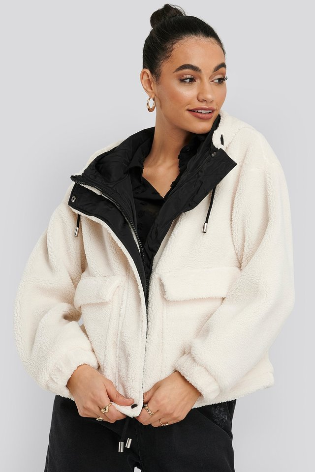 Shearling Hooded Jacket White