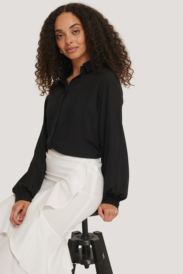 Sheer Balloon Sleeve Blouse Black