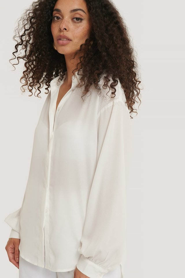 Sheer Balloon Sleeve Blouse Offwhite