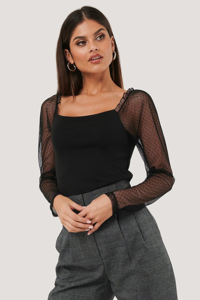 Sheer Contrast Sleeve Square Neck Top Black