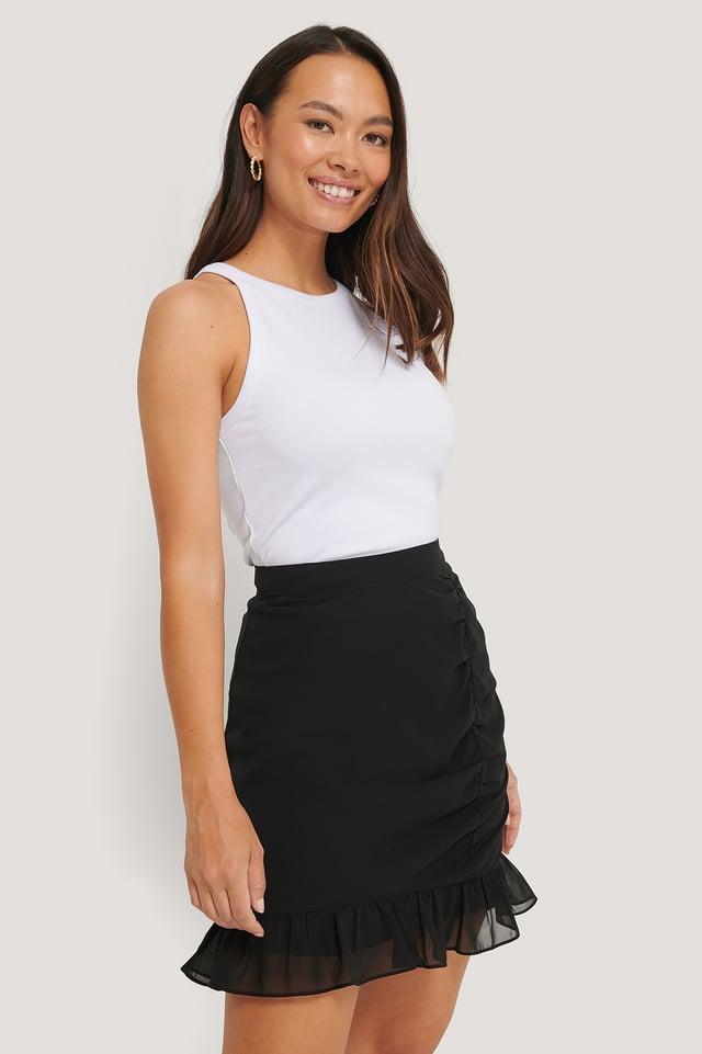 Sheer Flounce Mini Skirt Black