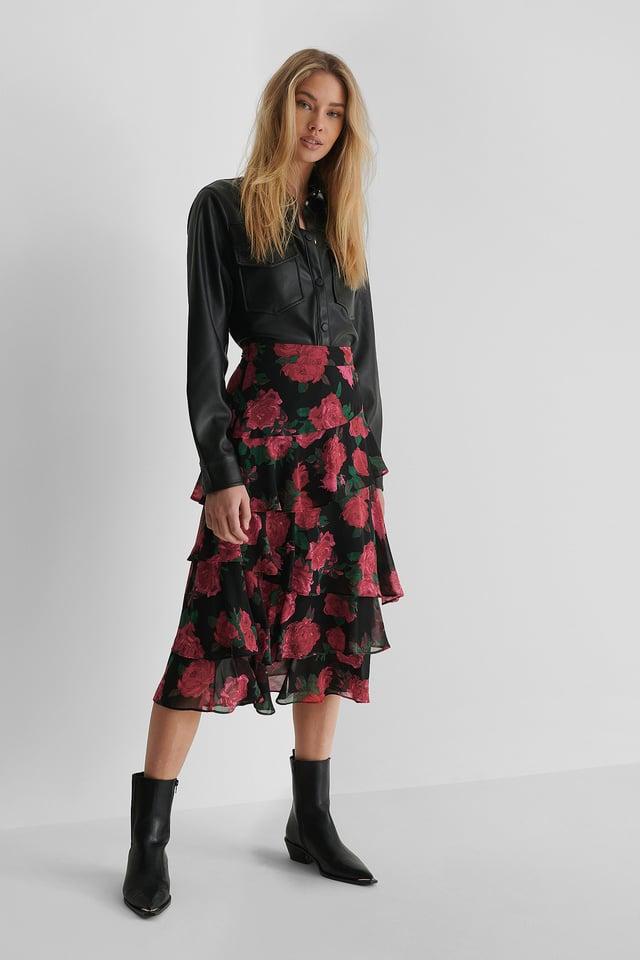 Rose Print Sheer Frill Midi Skirt