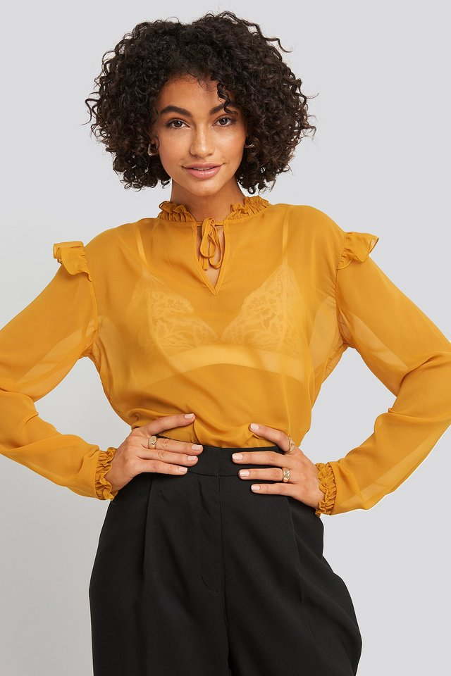 Sheer High Neck Frill Blouse Mustard