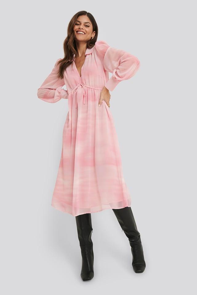 Sheer Midi Dress White/Pink