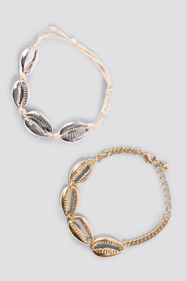 Shell Bracelets (2-pack) Gold Plated Silver