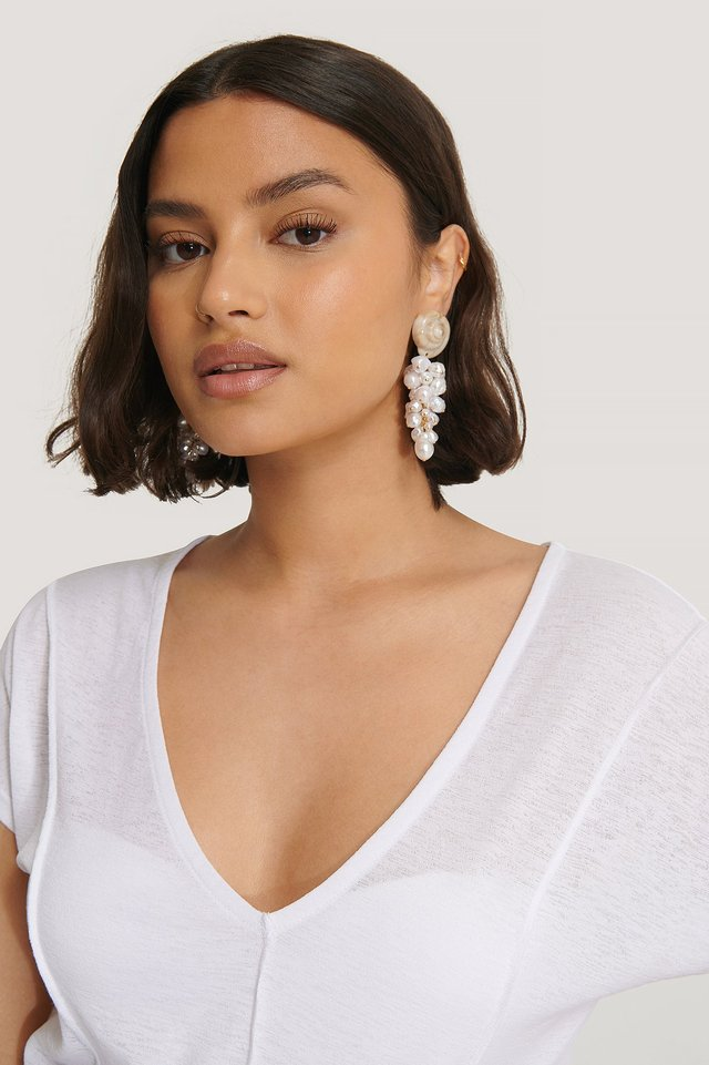 Shell Gathered Pearl Drop Earrings White