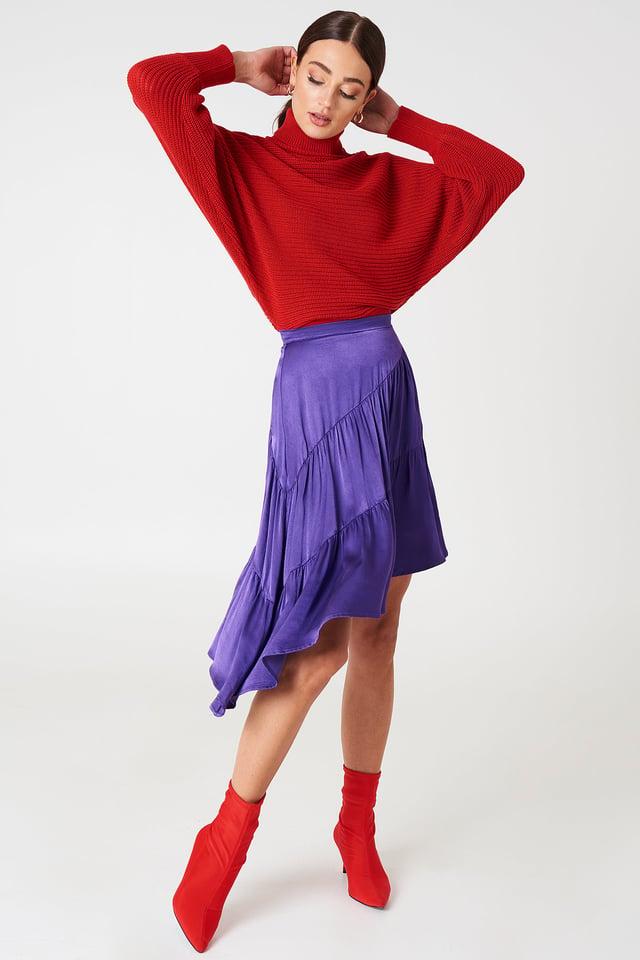 Shiny Asymmetric Skirt Strong Purple