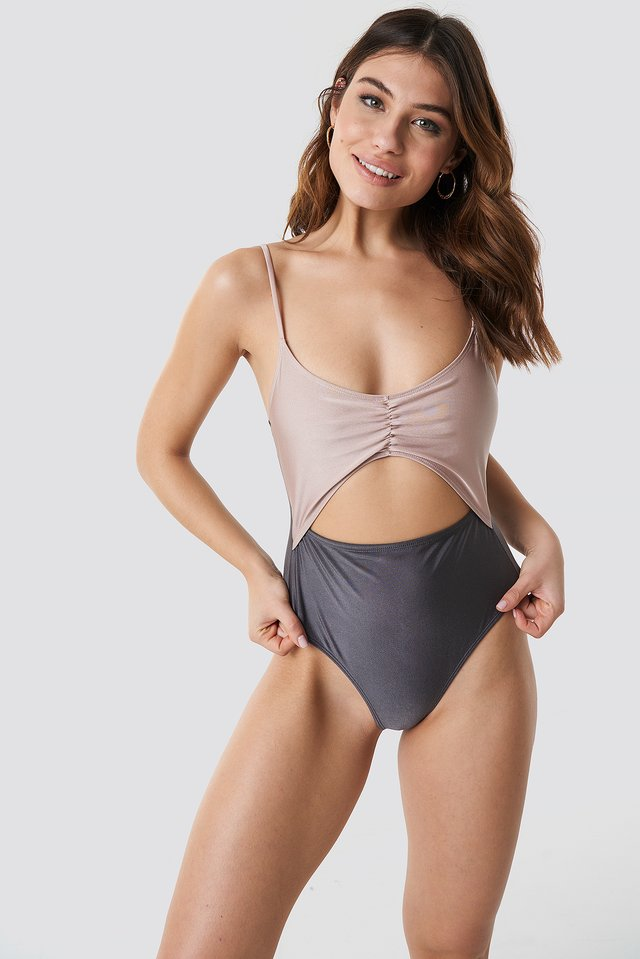 Sand Combo Shiny Cut Out Block Swimsuit