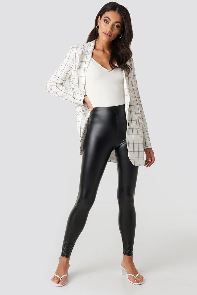 Shiny High Waist Leggings Black