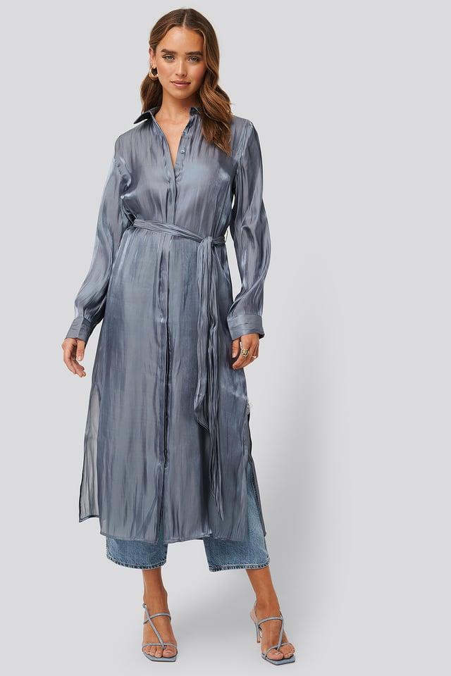 Shiny Long Shirt Dress Dusty Dark Blue