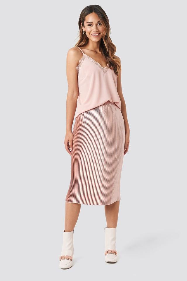 Shiny Pleated Skirt Dusty Pink