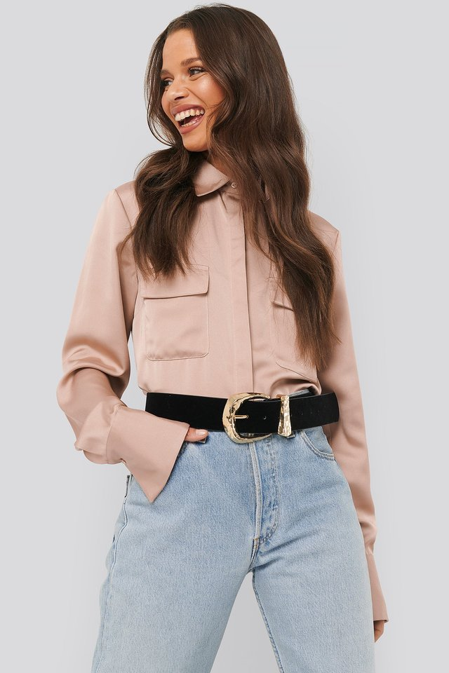 Shiny Pocket Shirt Pink Terracotta