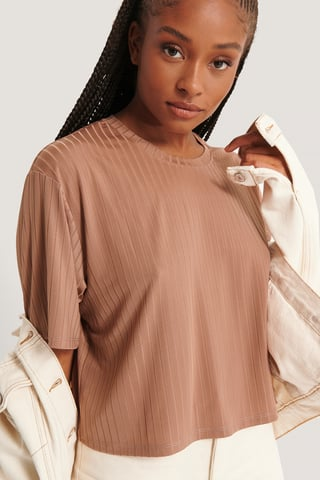 Dusty Pink Shiny Ribbed Top